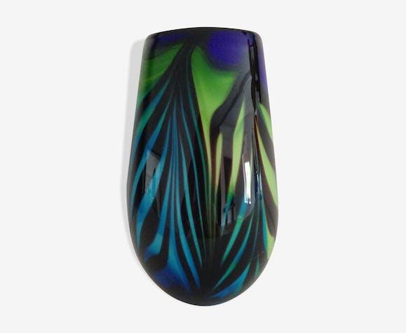 Vintage Murano Vase Glass And Crystal Blue Vintage Ct5fkfy