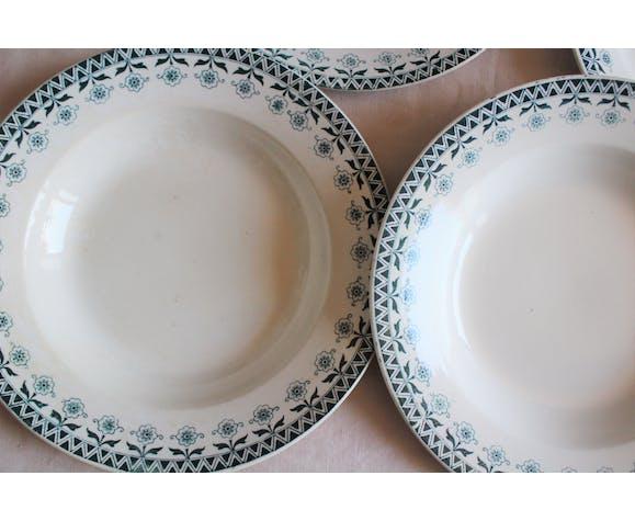 Lot 4 assiettes creuses Digoin Sarreguemines Henry bleu vert