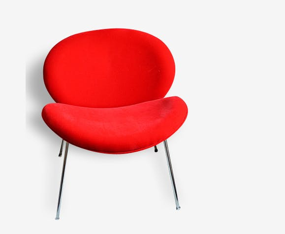 Fauteuil Rouge Style Slice Chair Tissu Rouge Design - Fauteuil rouge design