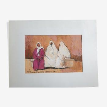 Gouache sur papier, personnages à Essaouira, Mohamed Bouafia