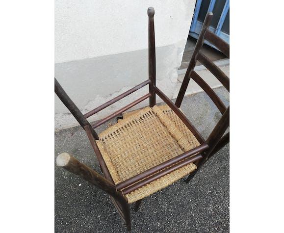 Paire de chaises assise corde