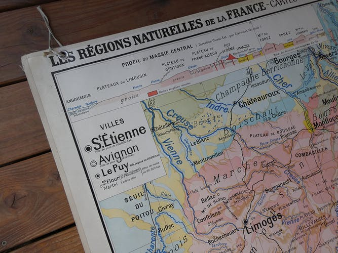 """Old school map """"Le Massif Central"""" No.2 Hatier"""