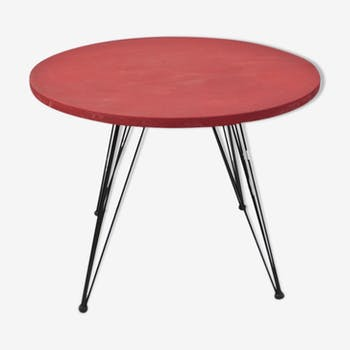 Table basse rouge année 50