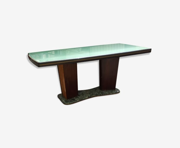 Table Salle A Manger Art Deco 1930 Bois Materiau Vert Art