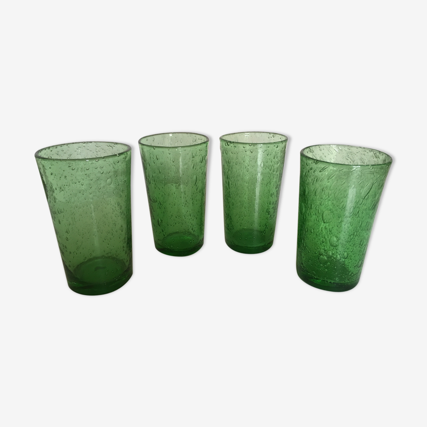 Series of glasses of Biot bubble glass senior cups