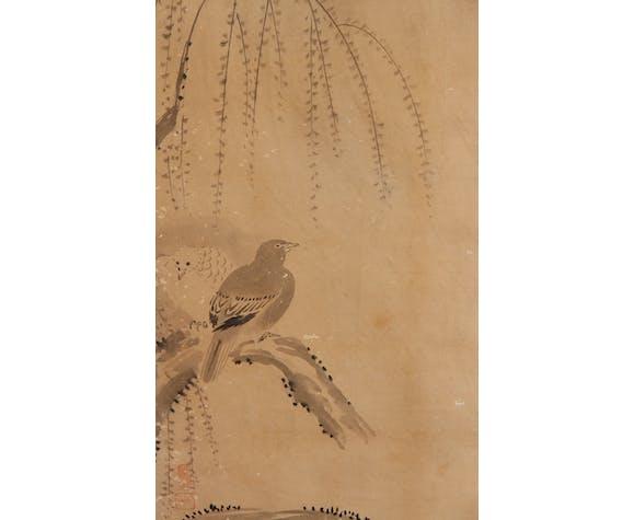 Paravent japonais, papier et tissu sur âme de bois, XIXe siècle