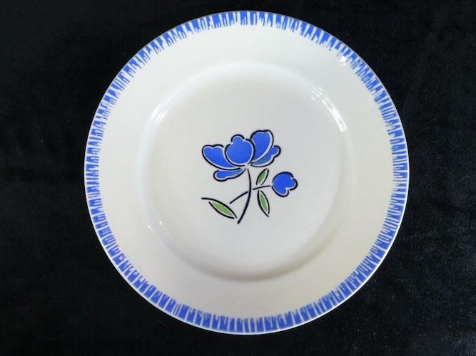 Set de 5 assiettes plates Badonviller fleur bleu