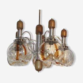 Lustre années 60 en bois et chrome 5 feux en verre de Murano