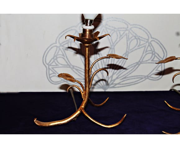 Pair of golden leaf lamps, 50s