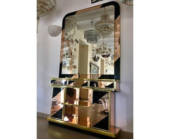 Ensemble miroir et consol bicolore période 1970