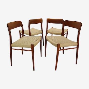 Ensemble de 4 chaises  par Niels Otto M'ller, Modèle 75, Danemark
