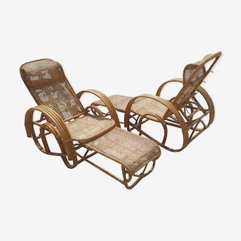 Paire de fauteuils transats en osier et bambou vers 1970
