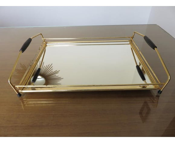 Mirror tray in gold metal 50 60s