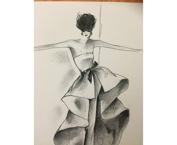 Illustration de mode de presse Pierre Cardin des années 80.