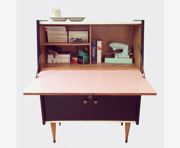 Secrétaire bureau bois matériau noir vintage 2586