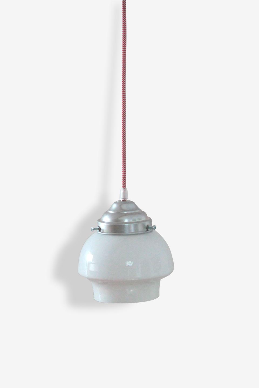 Petit lustre suspension ancien luminaire abat jour en verre opaline blanche