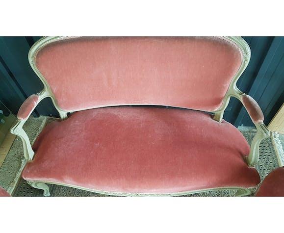 Banquette 2 places et 2 chaises de style Louis XVI