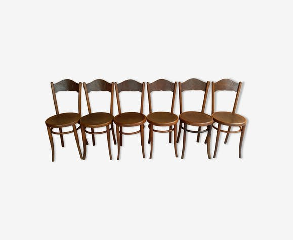 Set Of 6 Bistro Chairs J J Kohn 1920 Wood Wooden Vintage Gbt76bb