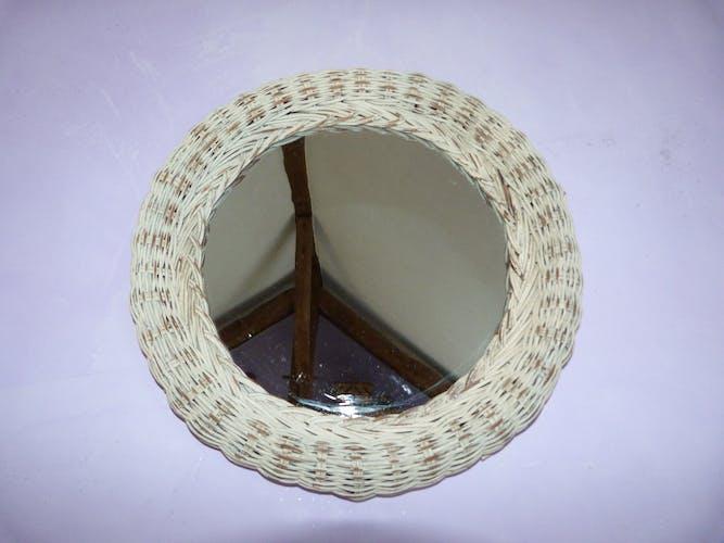 Rattan round mirror 36x36cm