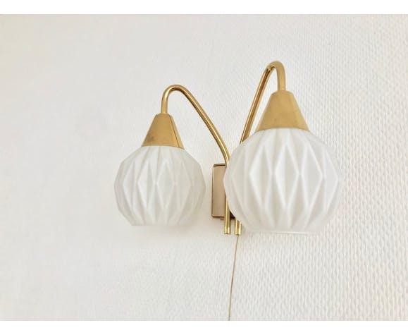 Paire d'appliques doubles laiton opalines origami
