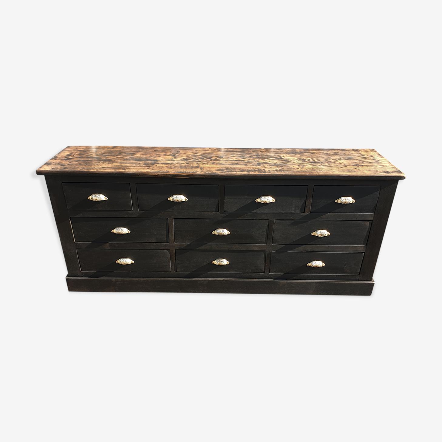 Cabinet 10 drawers black patina