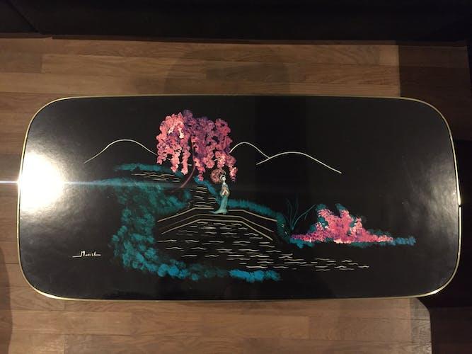 Table basse années 50 verre japonisant