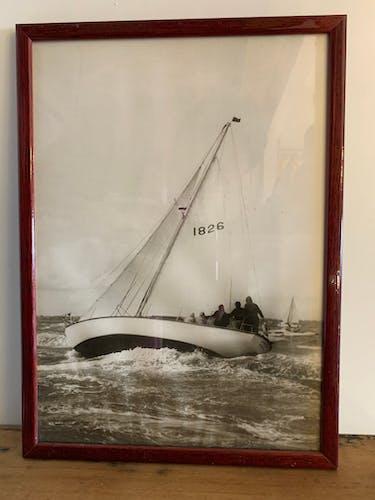 Lot de 4 photographies encadrées voiliers en noir et blanc