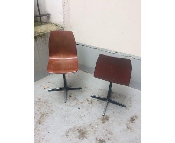 Paire de chaises d'atelier en Pagholz
