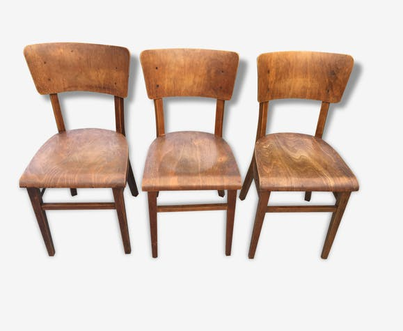 3 chaises bistrot thonet vintage 1950 bois mat riau bois couleur vintage 108666. Black Bedroom Furniture Sets. Home Design Ideas