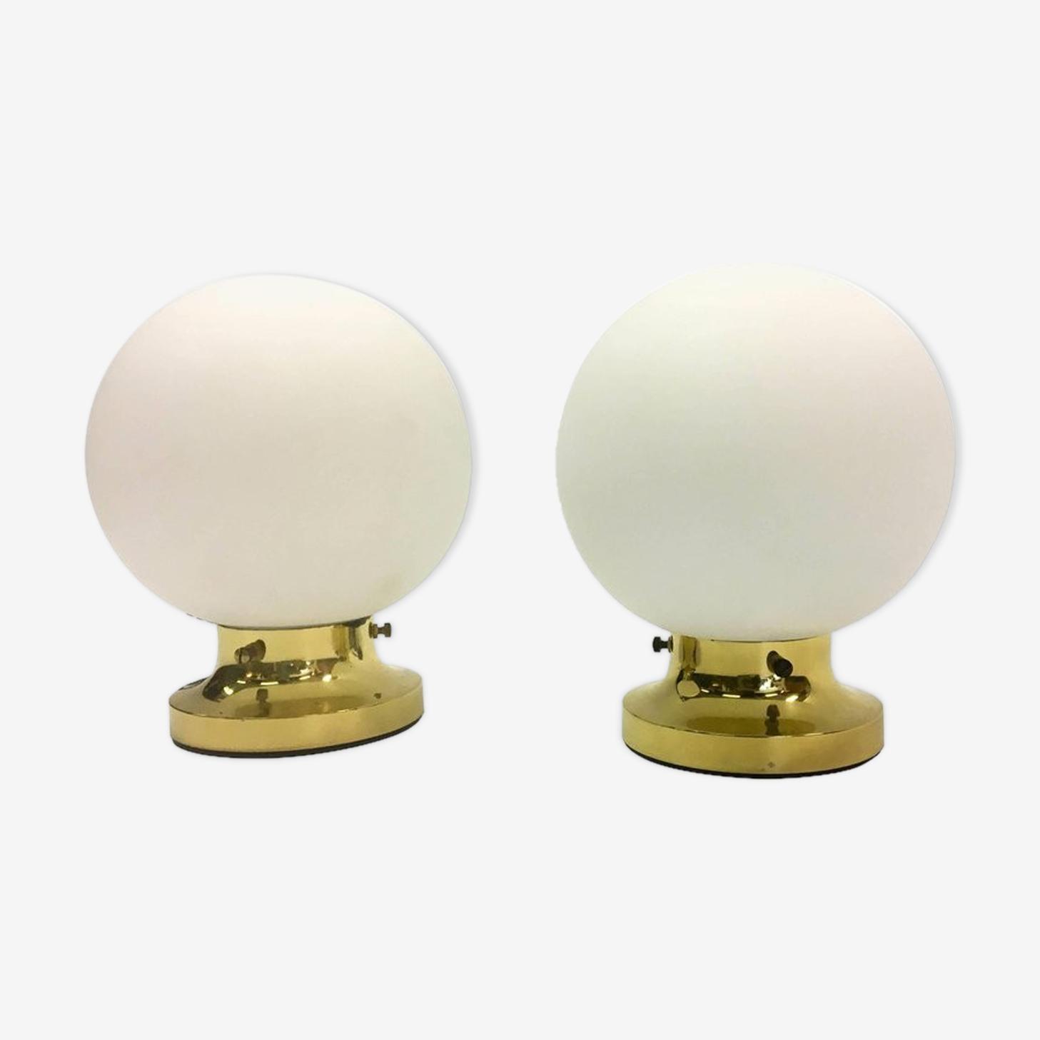 Deux lampes de table Glashütte Limburg, années 70