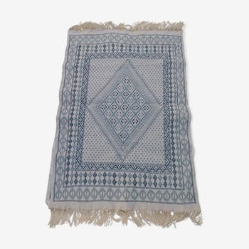 Handmade blue and beige white carpet in pure wool 200-127cm
