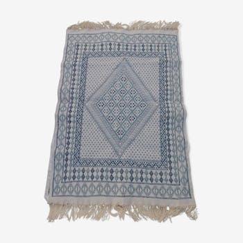 Tapis blanc bleu et beige berbère fait main en pure laine 200×127cm