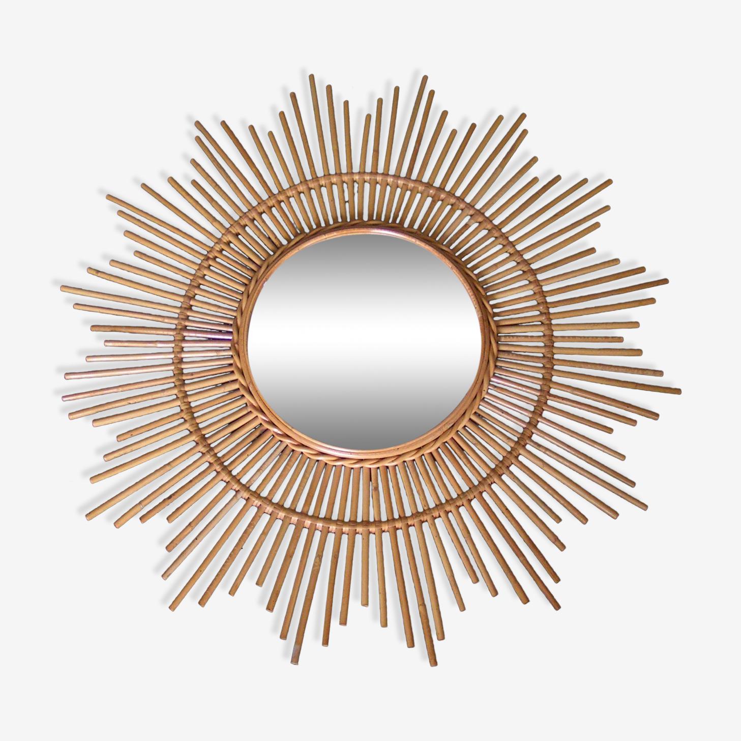 Mirror sun rattan years 60 - 80x80 cm