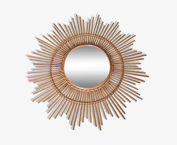 Mirror sun rattan years 60 - 80x80 cm