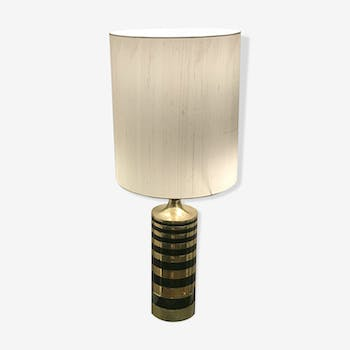 Brass lamp and black lacquered metal circa 1970