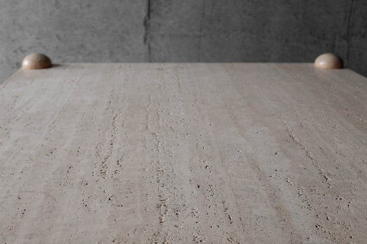 Table basse carrée en travertin et bois massif - années 70