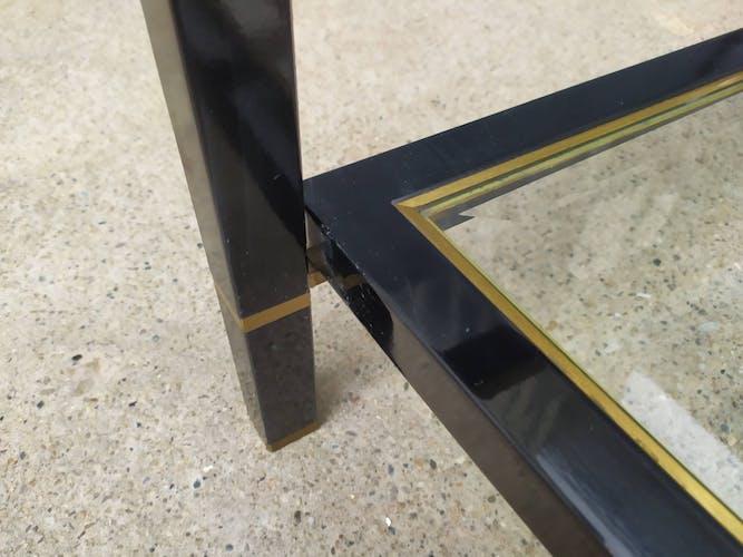 Table basse vintage double plateaux verre