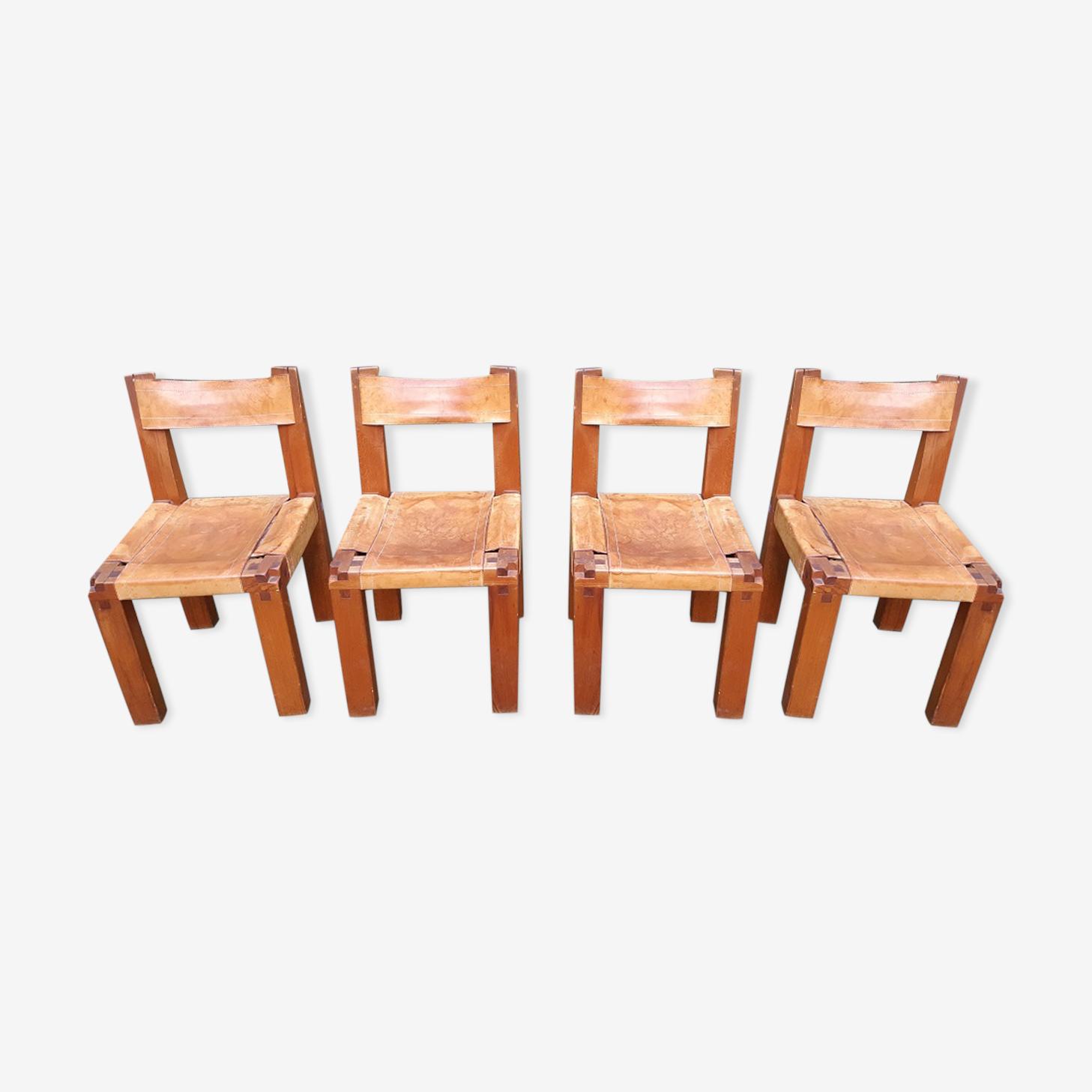 Suite de 4 chaises Pierre Chapo