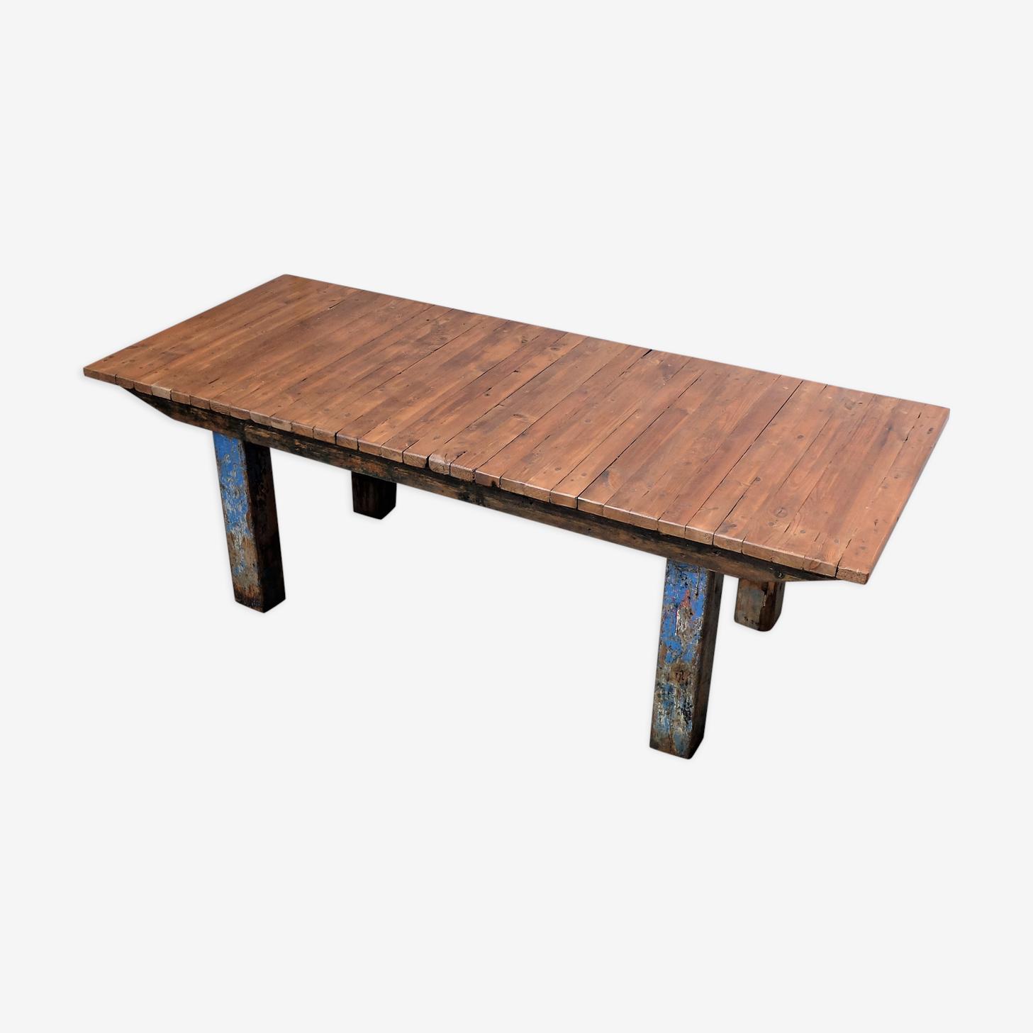 Table en noyer industrielle