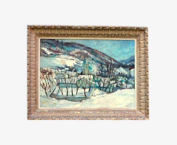 Paysage de neige et montagne signé Fraass