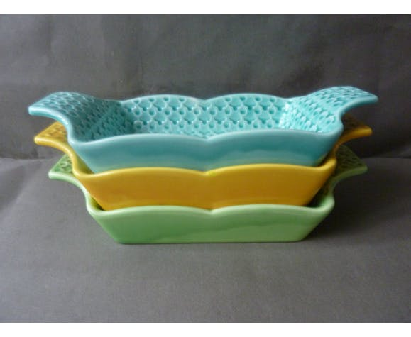 Series 3 cups ceramic Digoin, imitating the perforated plate