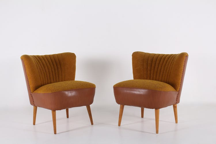 Pair of cocktail chairs in fabrics