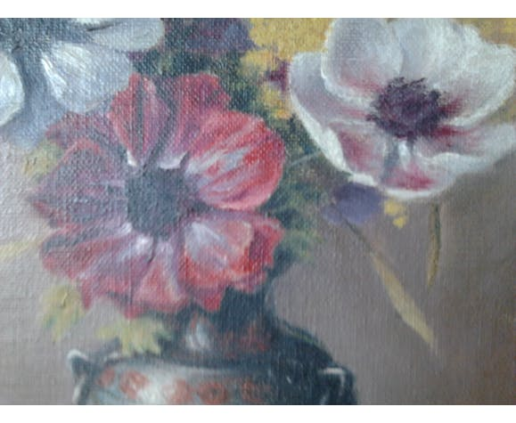 painting oil on vintage wood from 1940, signed pretty (bouquet of anemones and mimosa in a vase on a table)