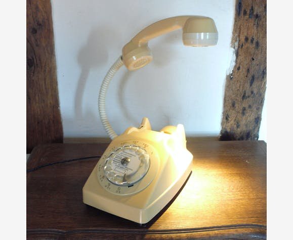 Lampe Téléphone Vintage Socotel S63 Crème Plastique Beige