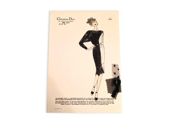 Dior rare dessin croquis ancien de mode haute couture - Dessin de couture ...