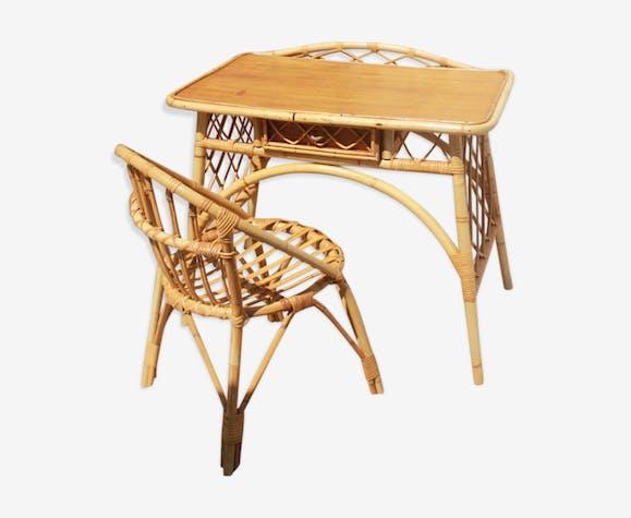 Bureau et chaise assortie en rotin vintage