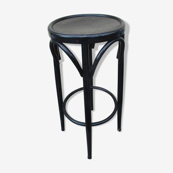 Stool high wood curve blackened with pattern