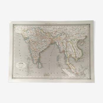 Carte géographique 19ème numérotée Inde en deçà et au delà du Gange