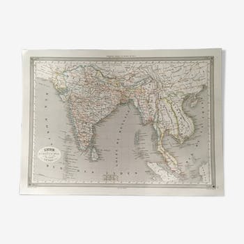 Geographic map 19th numbered India below and beyond the Ganges