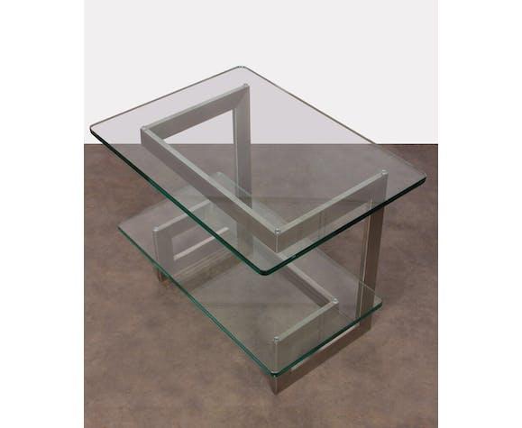 Console vintage en métal et verre par Paul Legeard 1970